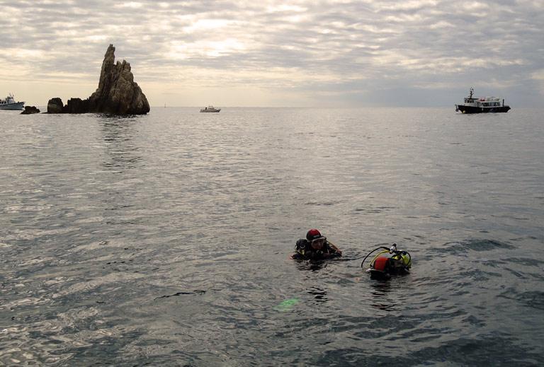 Début de plongée en formation sur les Iles Médès
